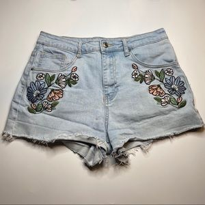 Forever 21 Embroidered High Waist Distress Shorts